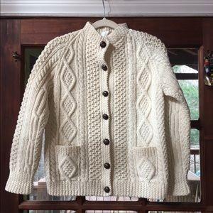 Vintage Hand Knit Irish Wool Cardigan Sweater Sz M